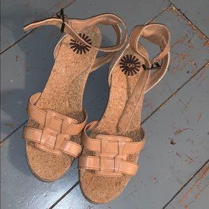 NWOT UGG nude ankle strap wedge sandal